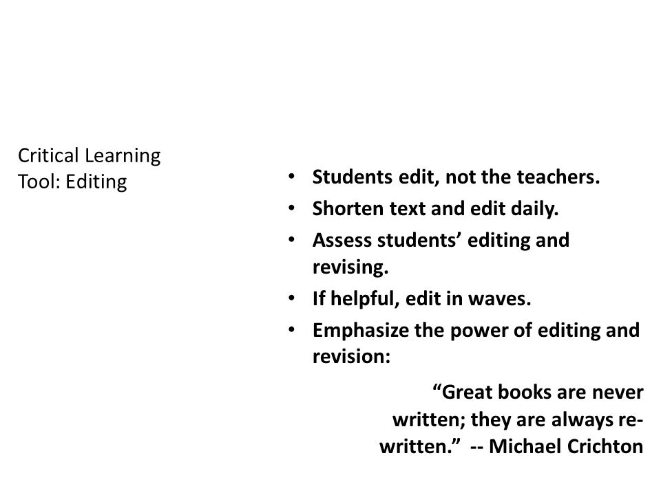 Critical Learning Tool: Editing