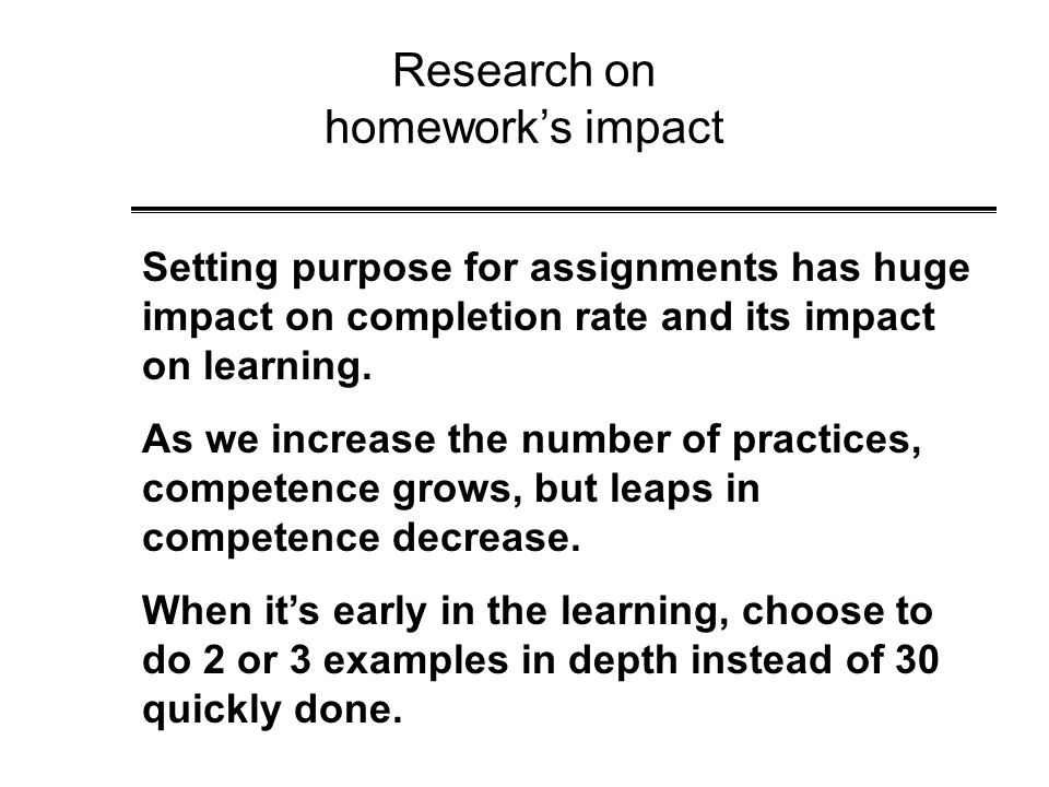 Research on homework's impact