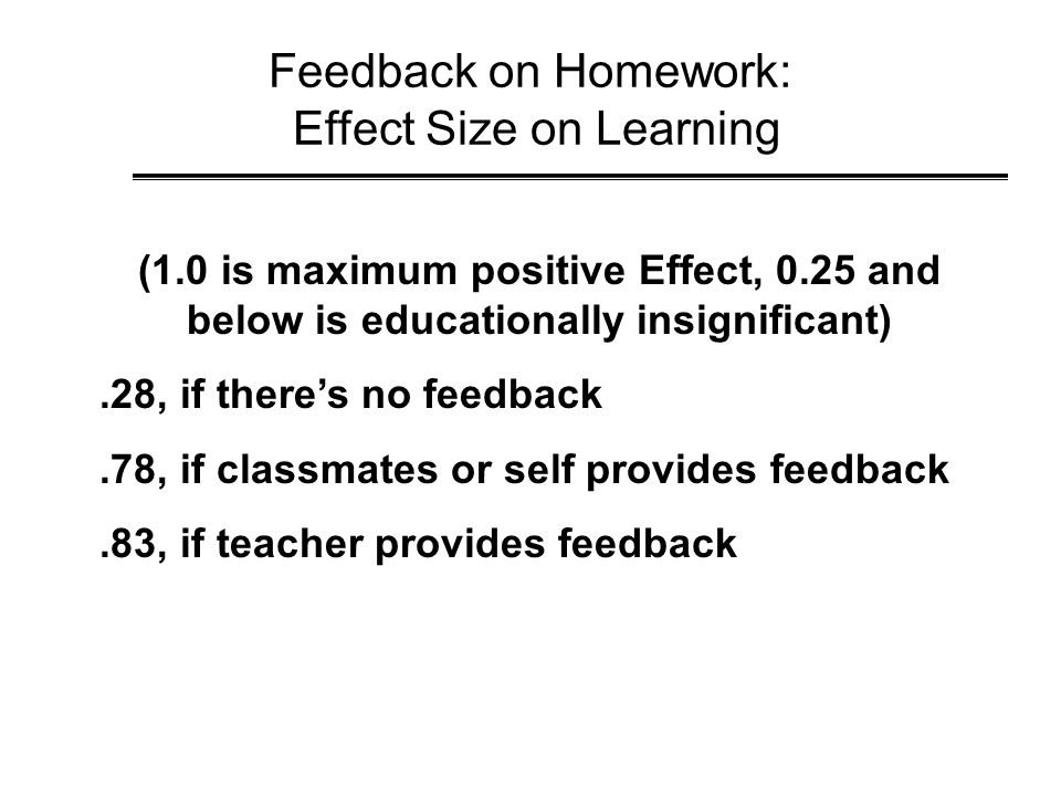 Feedback on Homework: Effect Size on Learning