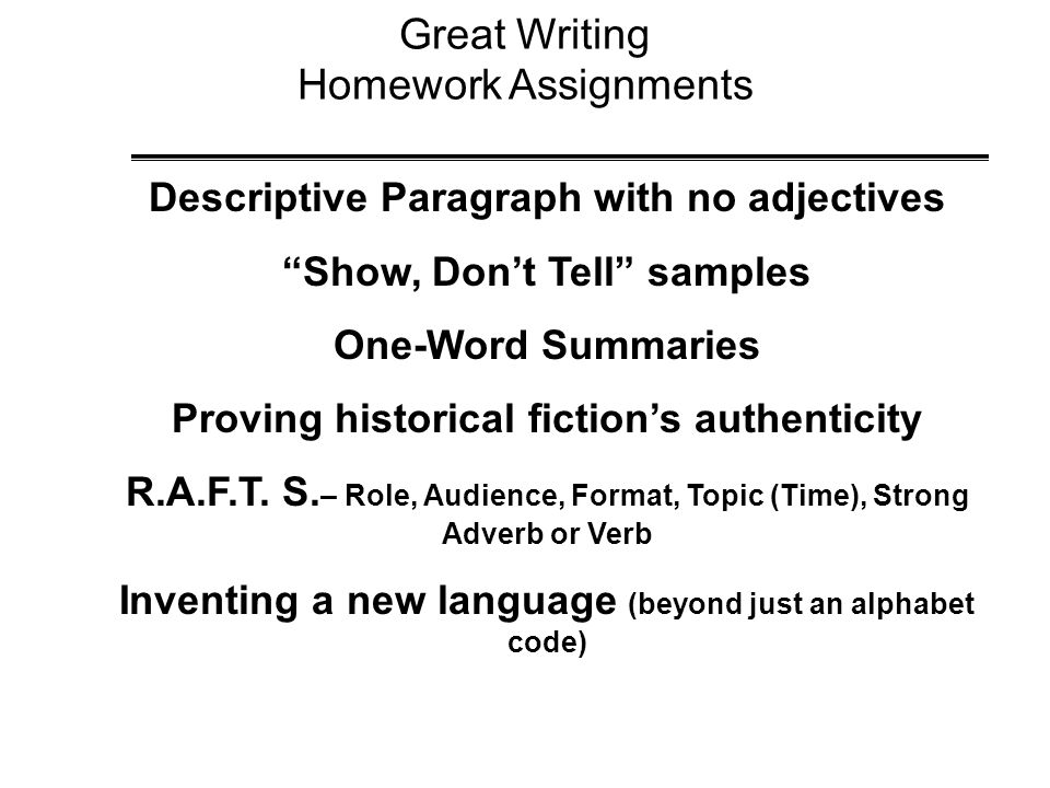 Great Writing Homework Assignments