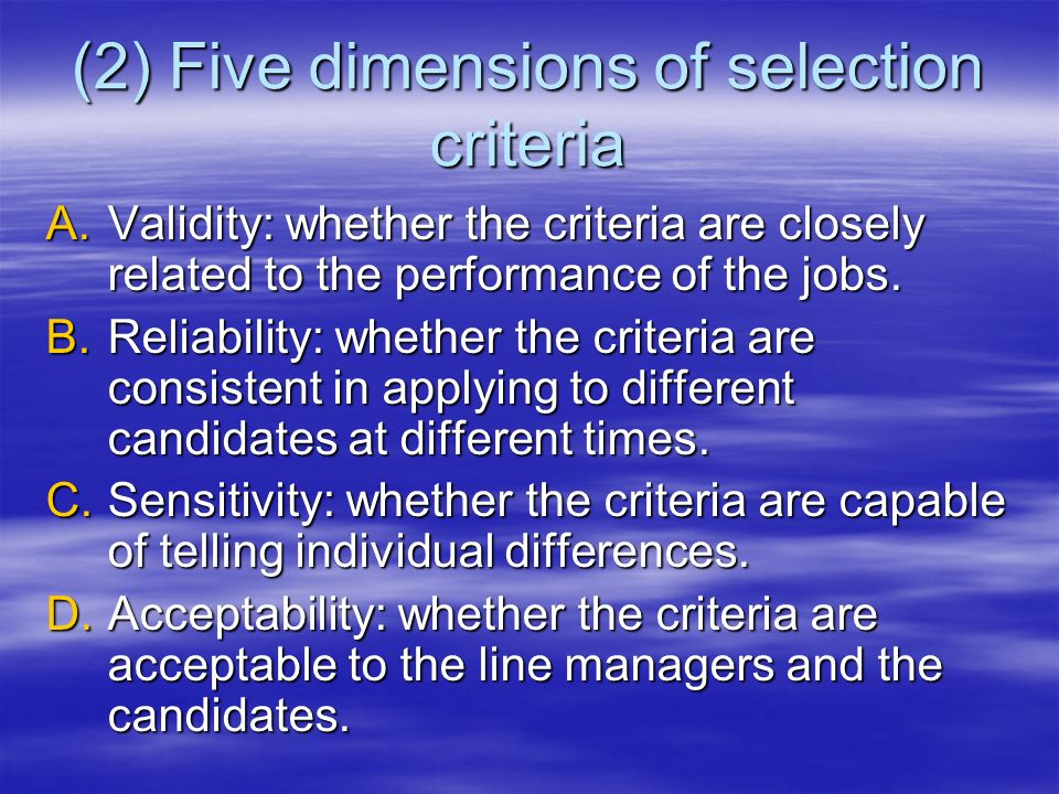 (2) Five dimensions of selection criteria