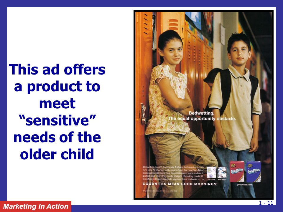 This ad offers a product to meet sensitive needs of the older child
