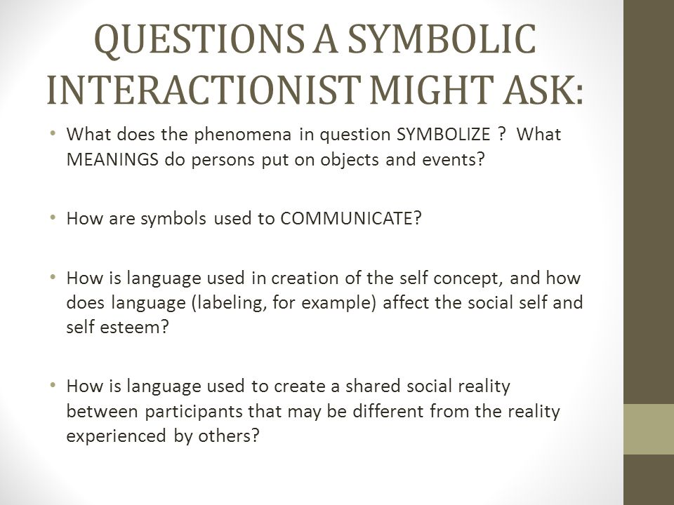 QUESTIONS A SYMBOLIC INTERACTIONIST MIGHT ASK: