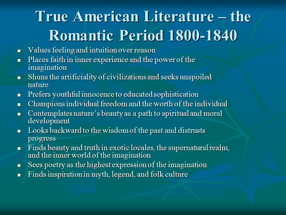 Developments in Literature During The Romantic Period