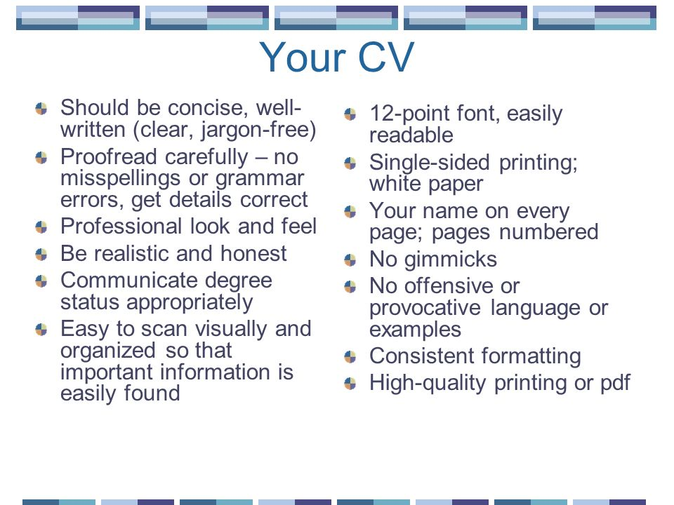 Your CV Should be concise, well-written (clear, jargon-free)