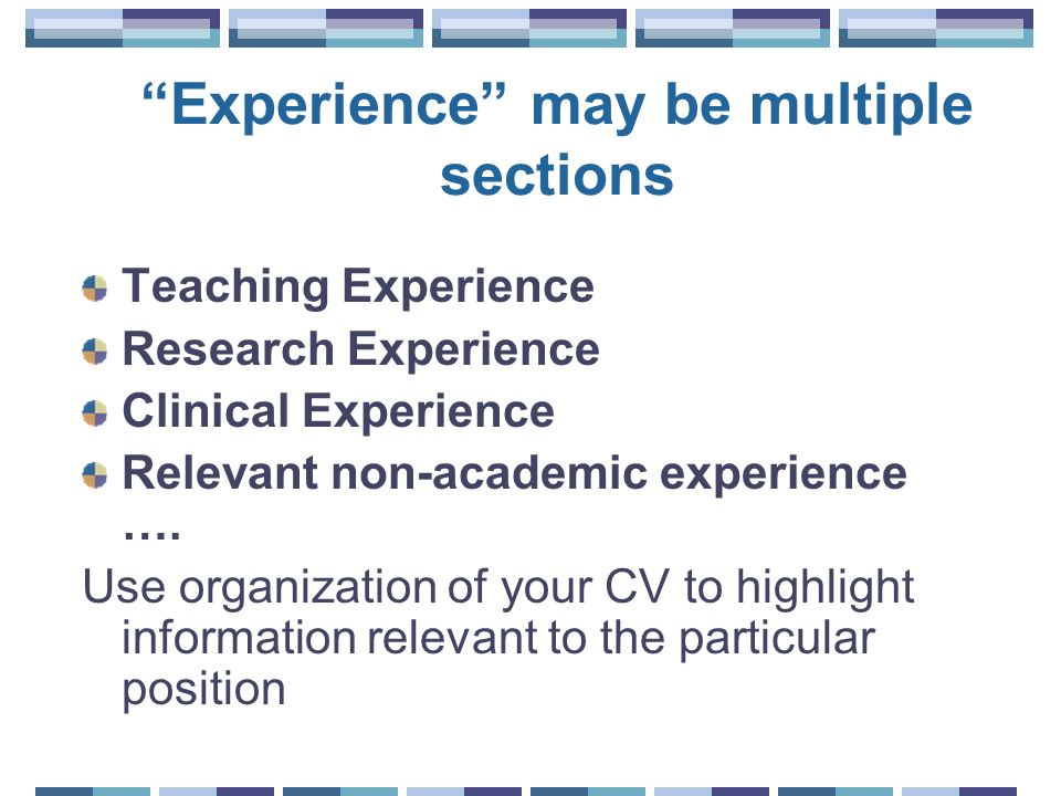 Experience may be multiple sections