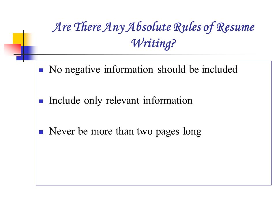 rules of resume writing