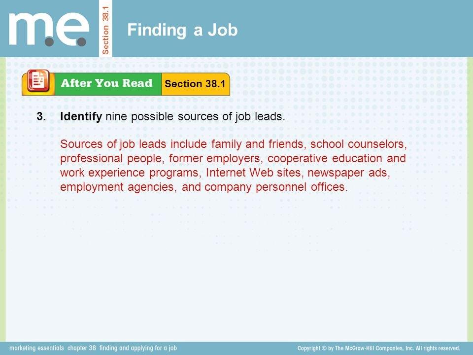 Finding a Job 3. Identify nine possible sources of job leads.