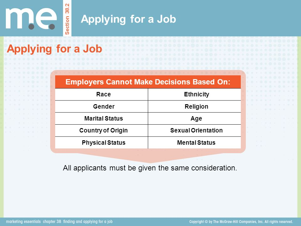 Employers Cannot Make Decisions Based On: