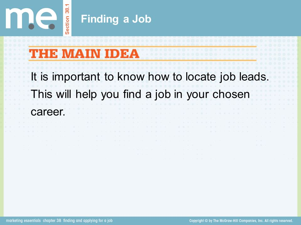 Finding a Job Section It is important to know how to locate job leads.
