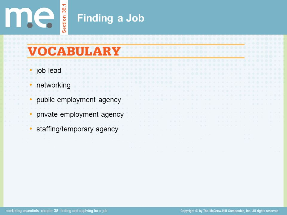 Finding a Job job lead networking public employment agency