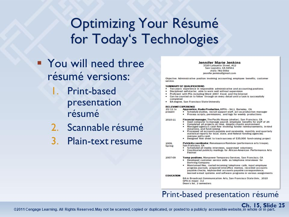 Chapter 15 The Job Search, Résumés, and Cover Letters. - ppt video ...