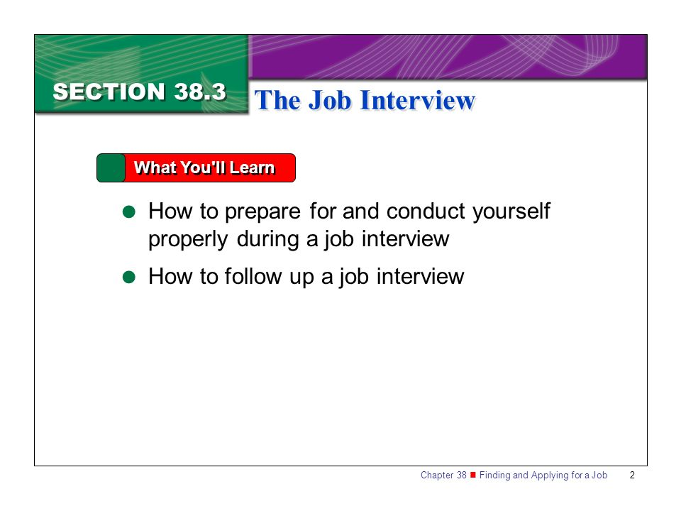 The Job Interview SECTION 38.3