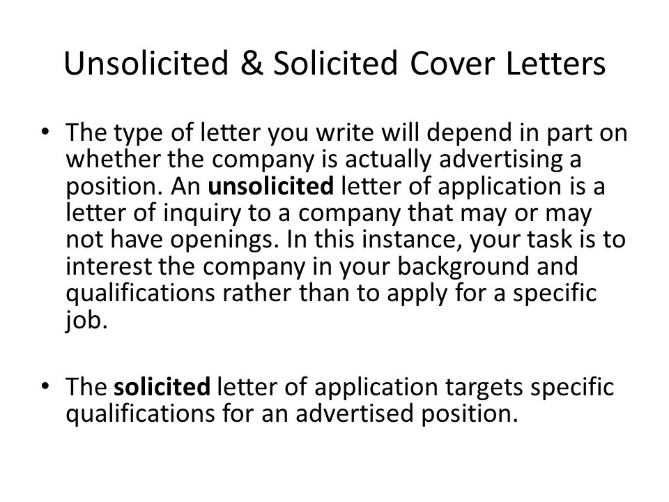 The rsum a resume tailored to fit the job you are applying for is unsolicited solicited cover letters altavistaventures Gallery