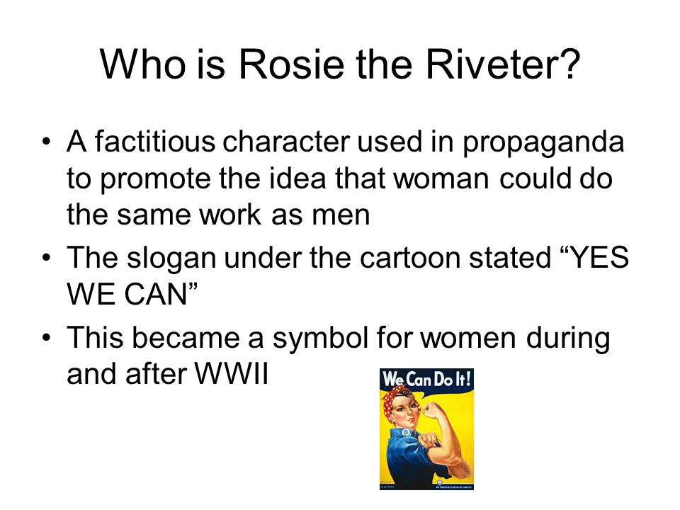 """why rosie the riveter essay example Drawing on examples from the life and times of rosie the riveter (film), what are some of the strengths and weaknesses of betty friedan's approach in """"the problem that has no name"""" and bell hooks' """"feminism: a movement to end sexist oppression"""" why is an intersectional approach necessary in order for feminists to work to end gender oppression."""