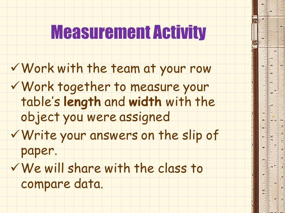 Measurement Activity Work with the team at your row