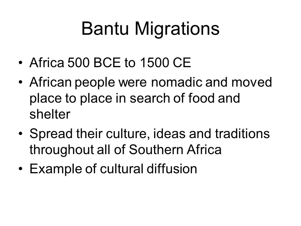 Bantu Migrations Africa 500 BCE to 1500 CE