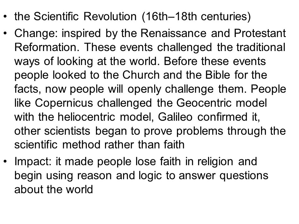 the Scientific Revolution (16th–18th centuries)