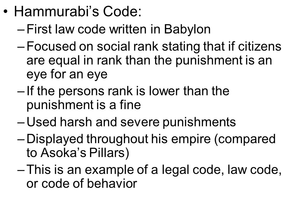 Hammurabi's Code: First law code written in Babylon
