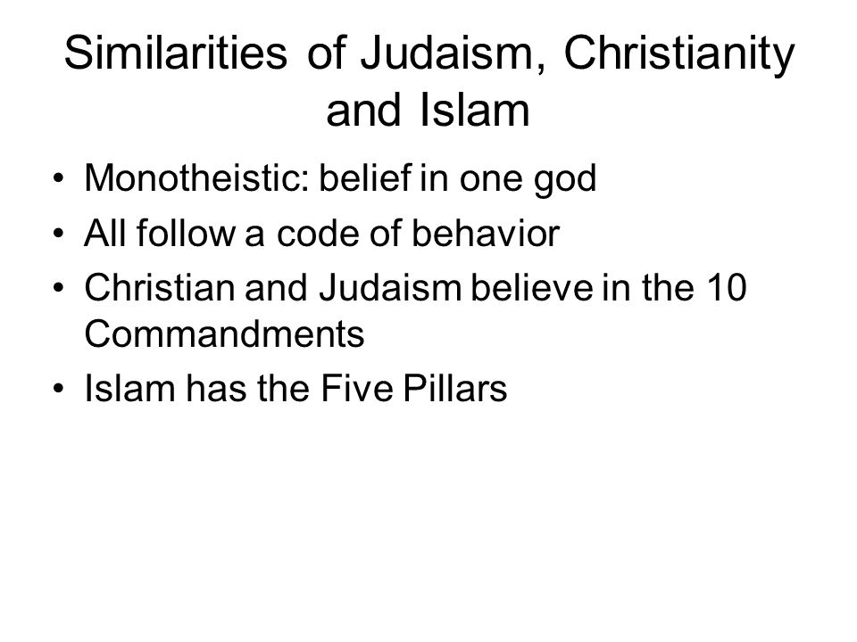 Similarities of Judaism, Christianity and Islam