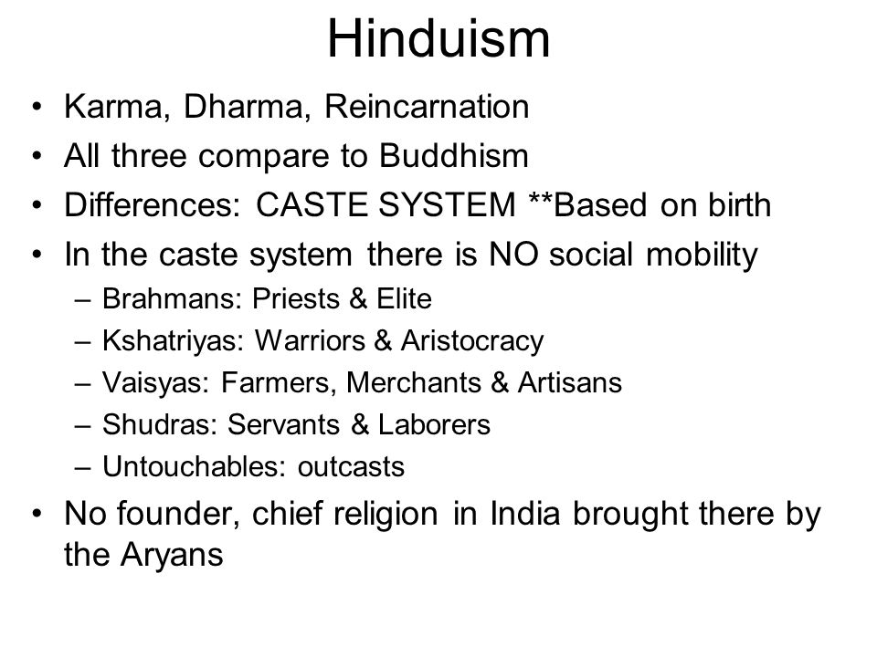 Hinduism Karma, Dharma, Reincarnation All three compare to Buddhism