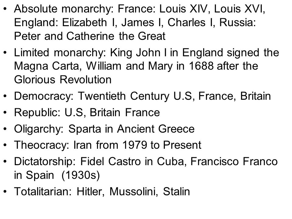 Absolute monarchy: France: Louis XIV, Louis XVI, England: Elizabeth I, James I, Charles I, Russia: Peter and Catherine the Great