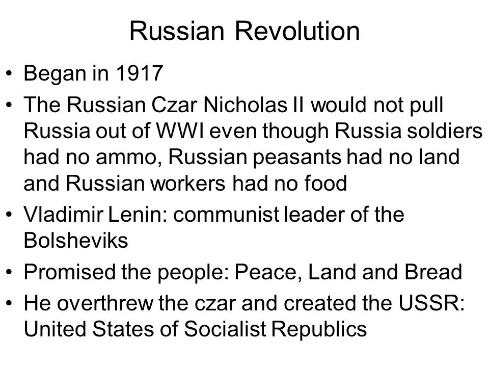 Russian Revolution Began in 1917