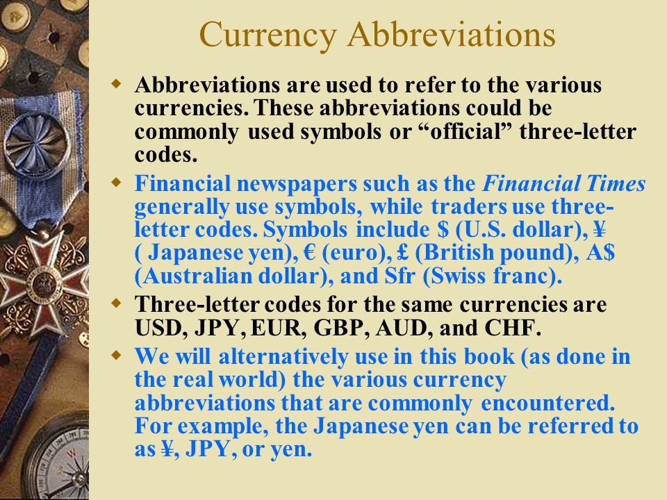 Currency Abbreviations