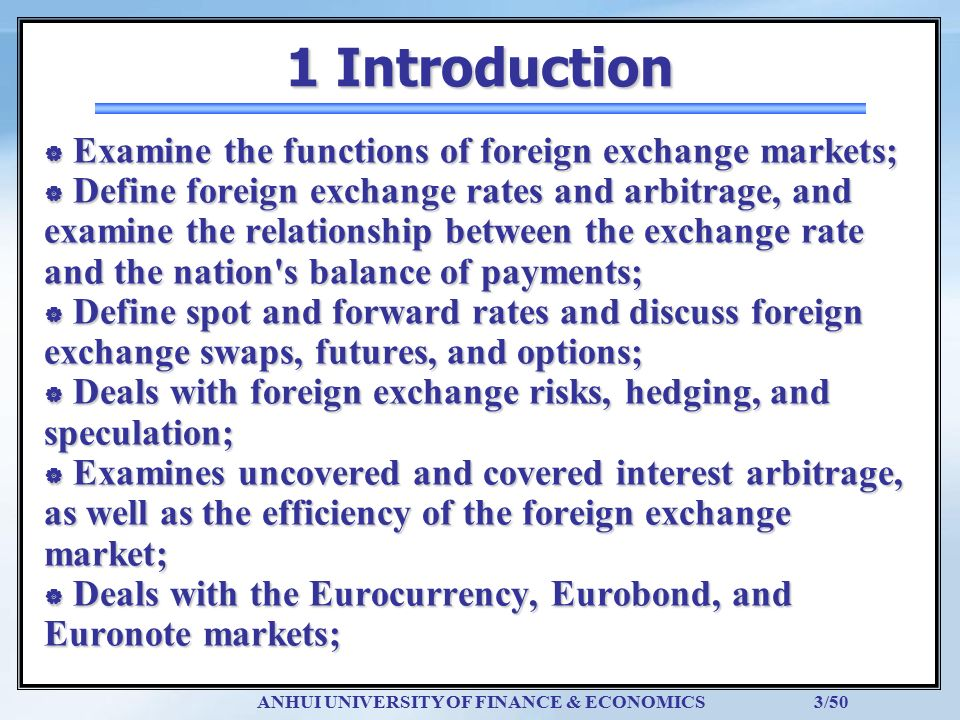 1 Introduction Examine The Functions Of Foreign Exchange Markets
