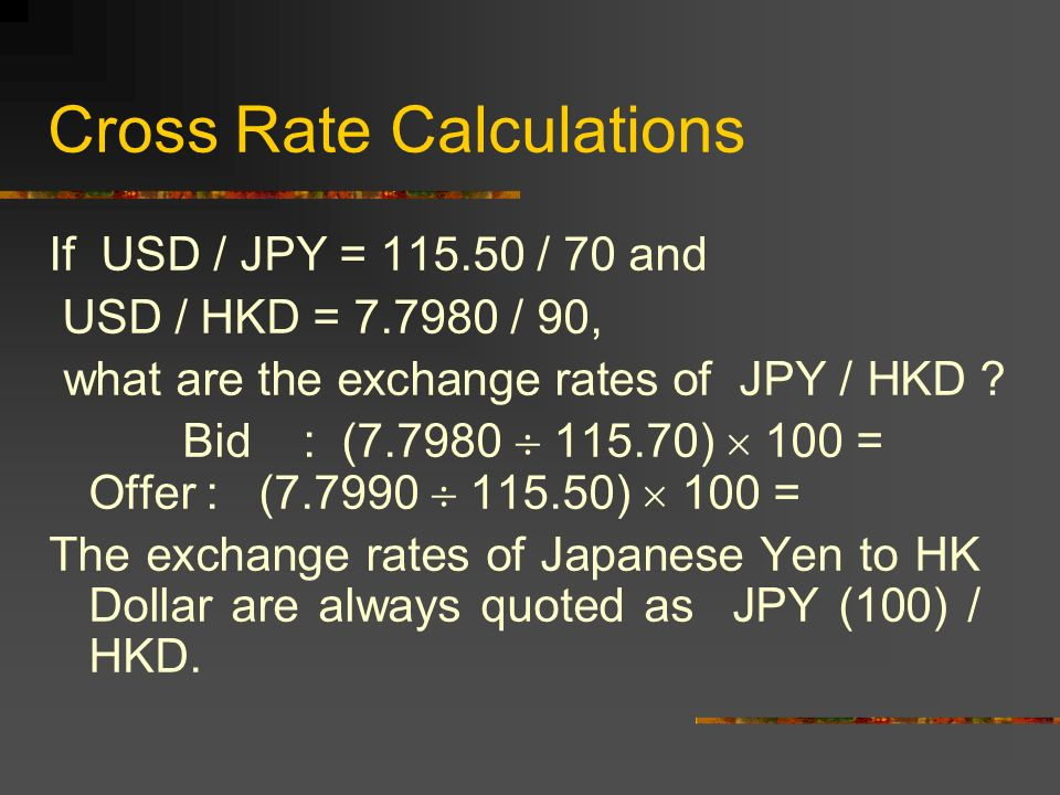 23 Cross Rate Calculations