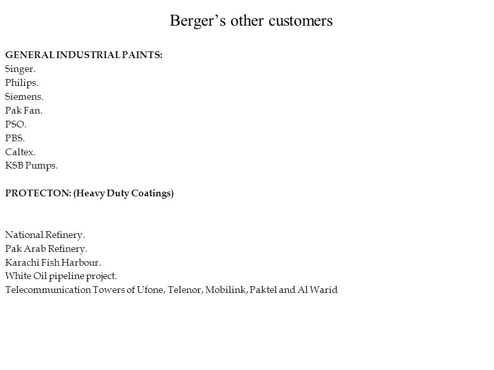 Company Profile The name of BERGER has been associated with