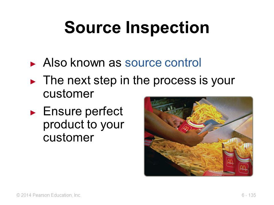 Source Inspection Also known as source control