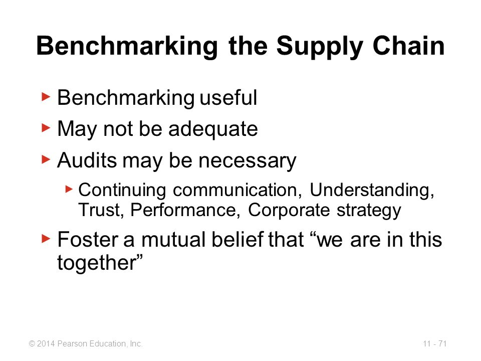 Benchmarking the Supply Chain