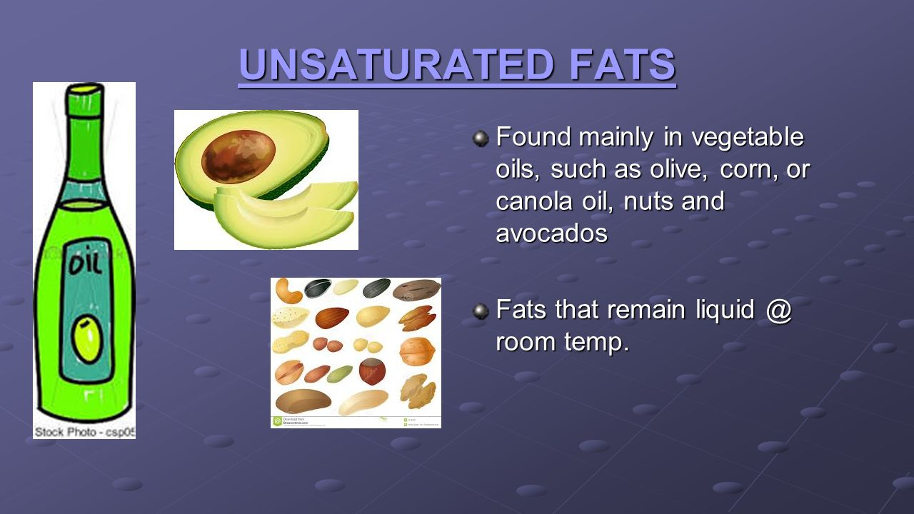 UNSATURATED FATS Found mainly in vegetable oils, such as olive, corn, or canola oil, nuts and avocados.