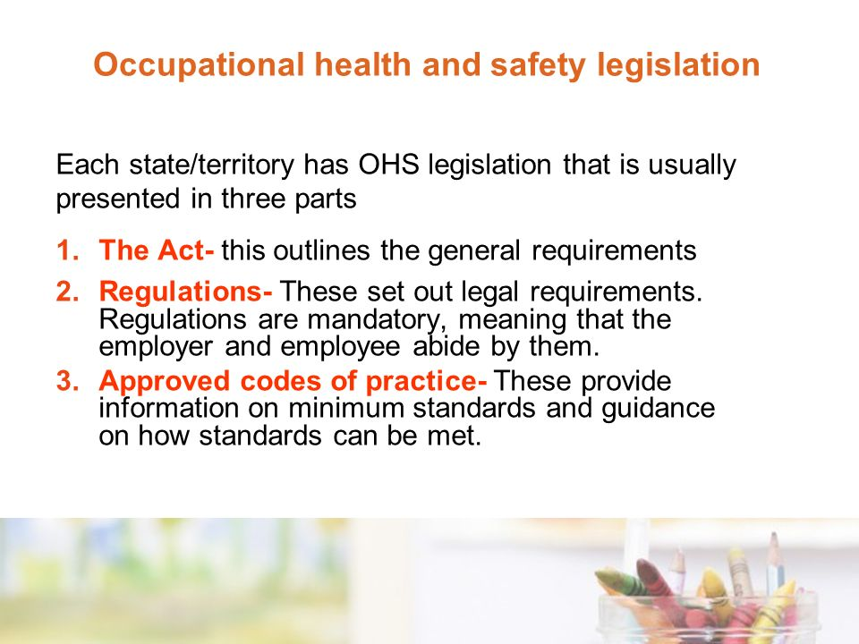 list of health and safety legislation