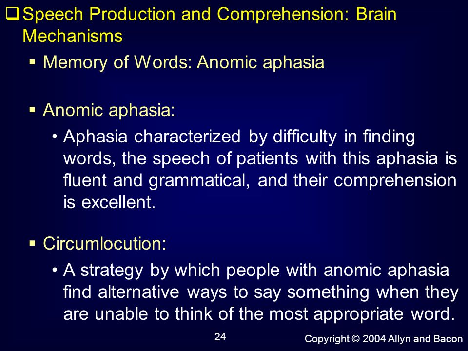 24 speech production and comprehension: brain mechanisms