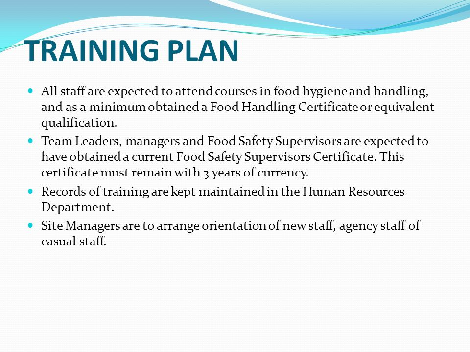 developing a food safety plan - ppt download