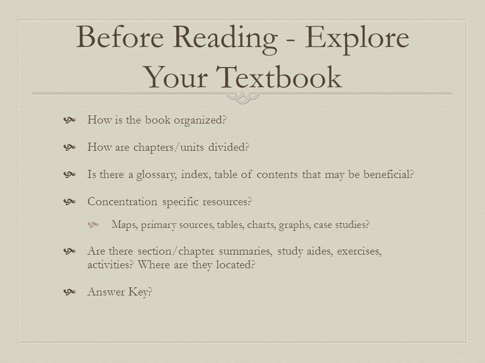 Before Reading - Explore Your Textbook