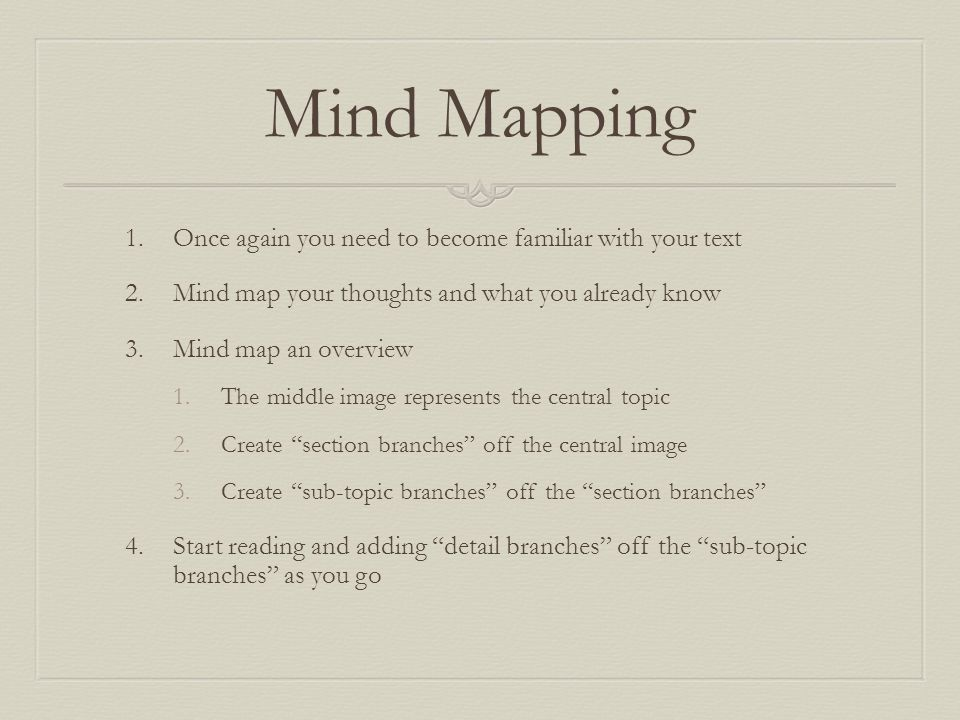 Mind Mapping Once again you need to become familiar with your text