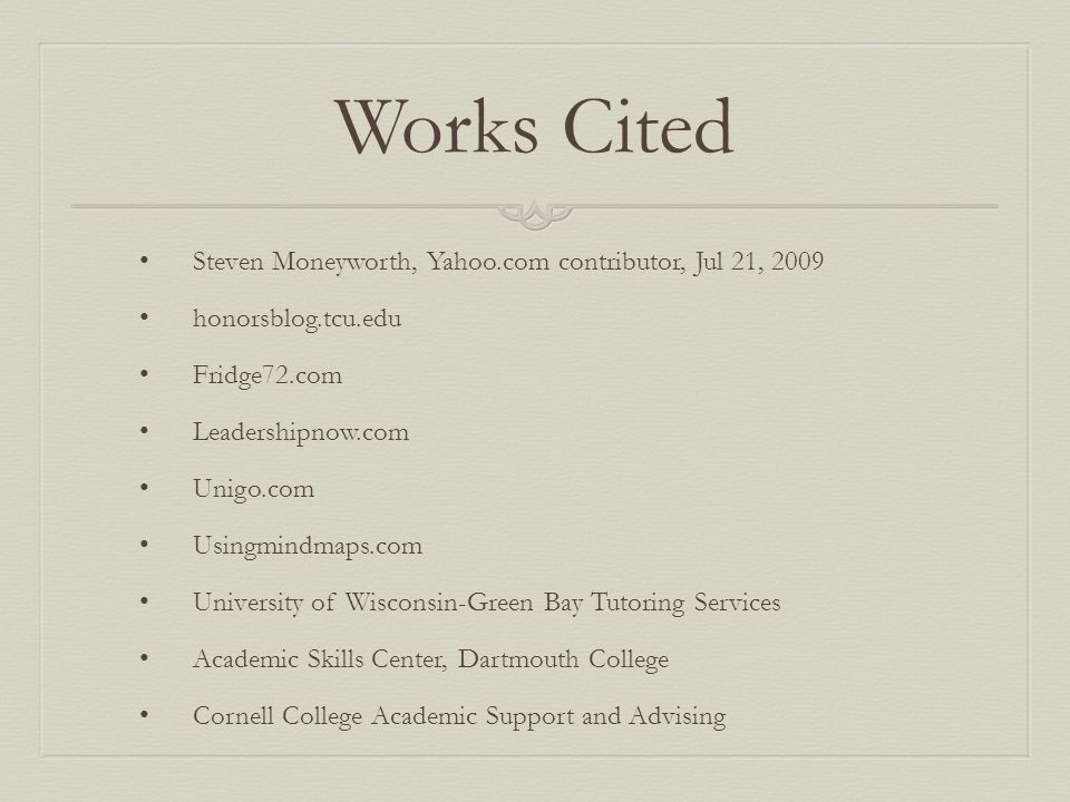 Works Cited Steven Moneyworth, Yahoo.com contributor, Jul 21, 2009