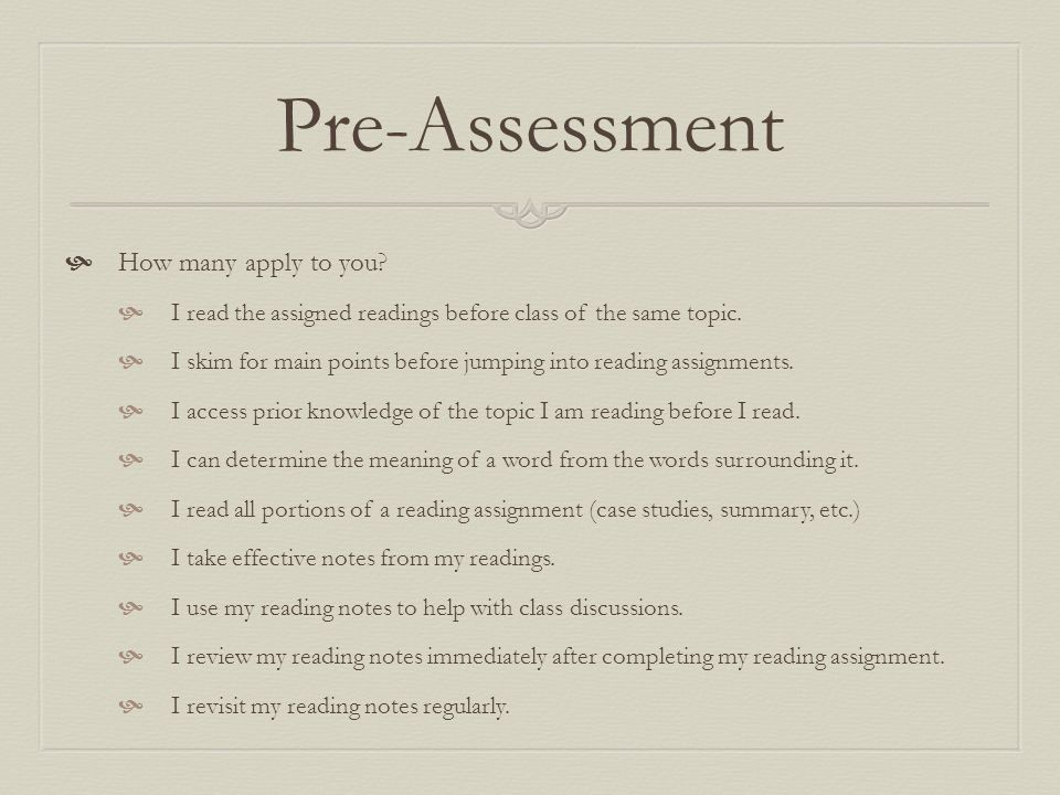Pre-Assessment How many apply to you