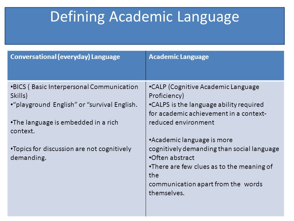 Language Acquisition and Academic Language Development - ppt