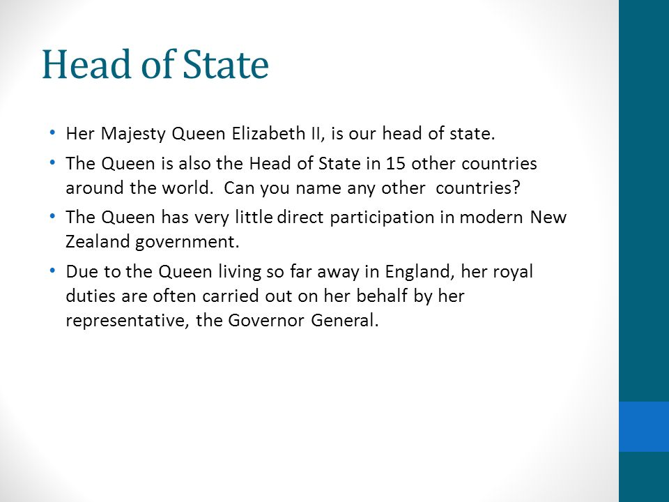 Head of State Her Majesty Queen Elizabeth II, is our head of state.