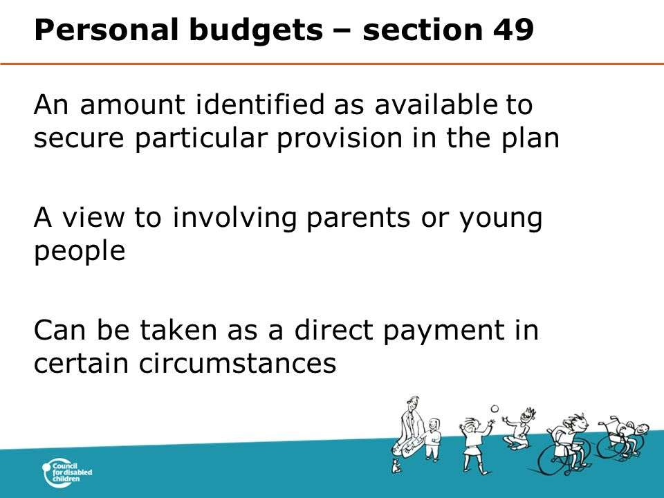 Personal budgets – section 49
