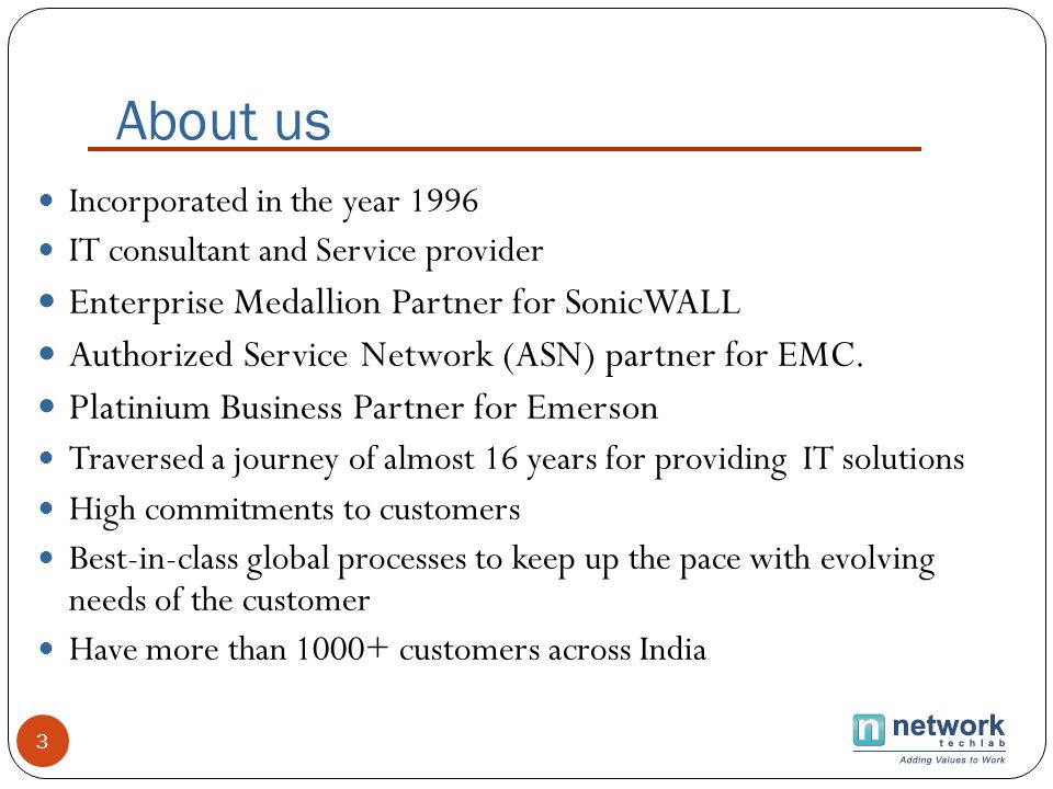 About us Enterprise Medallion Partner for SonicWALL