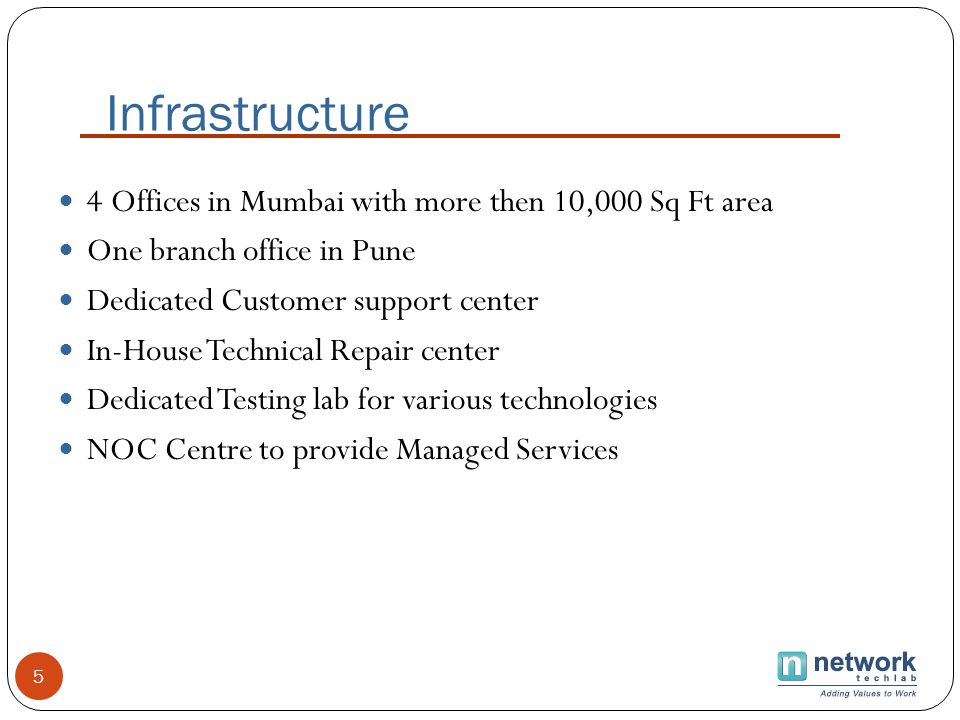 Infrastructure 4 Offices in Mumbai with more then 10,000 Sq Ft area