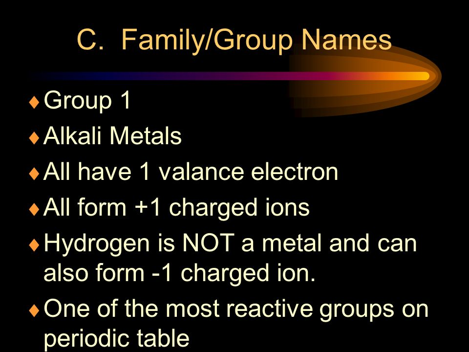 C. Family/Group Names Group 1 Alkali Metals