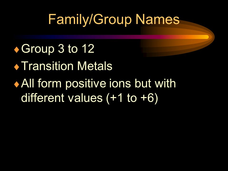 Family/Group Names Group 3 to 12 Transition Metals
