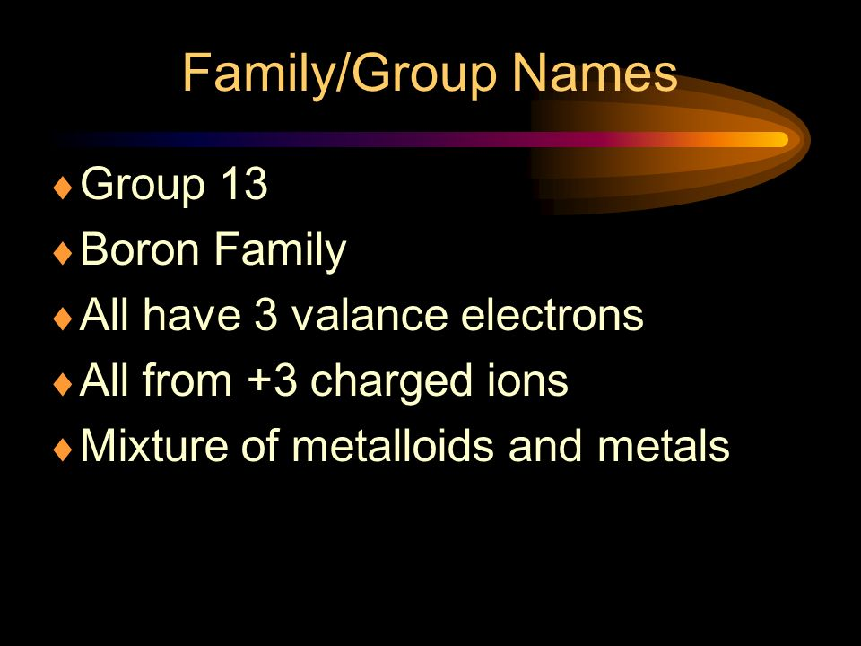 Family/Group Names Group 13 Boron Family All have 3 valance electrons