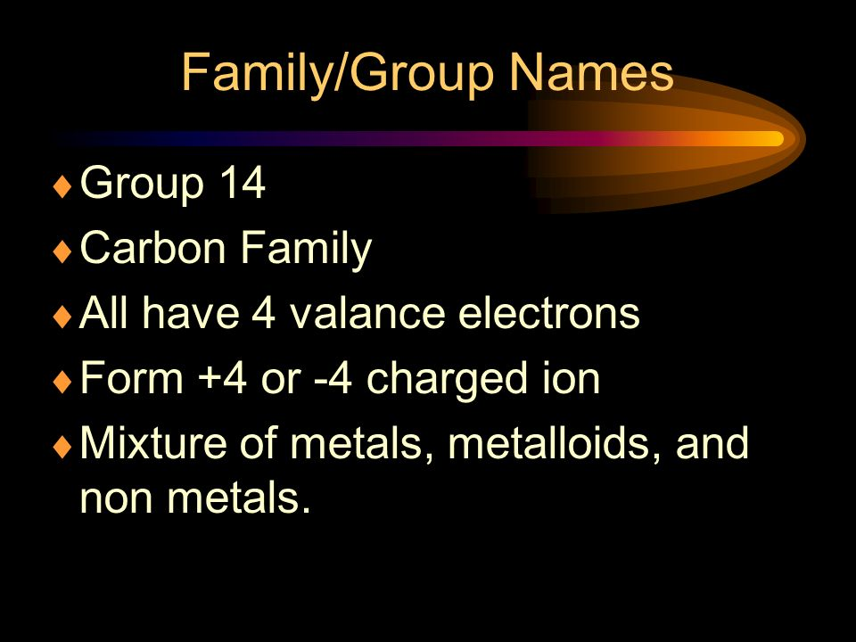 Family/Group Names Group 14 Carbon Family All have 4 valance electrons